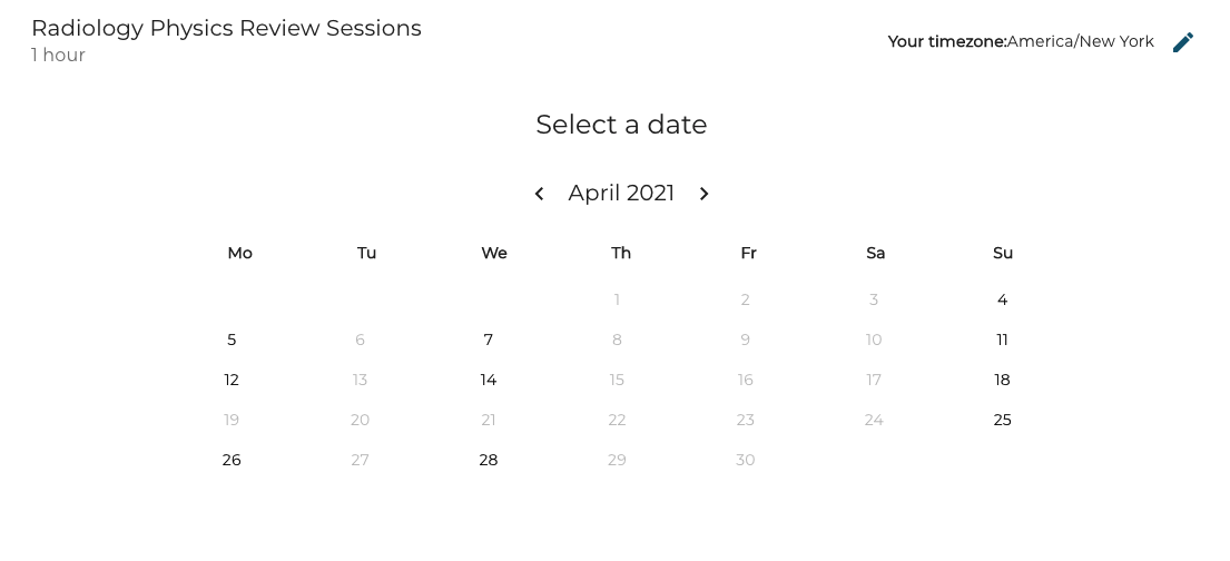 Study Session Calendar